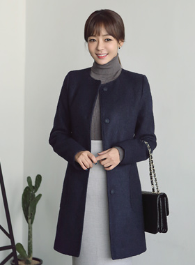 Round section wool coat keulul