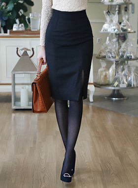 teuim simple Wool Midi Skirt