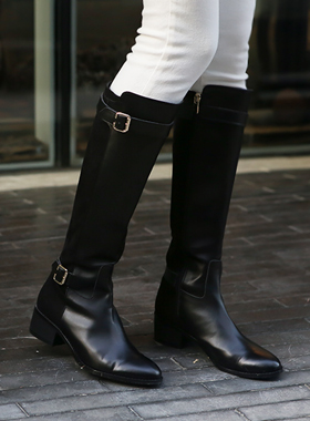 Cowhide buckle two tone Boots