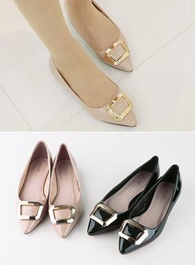 Enamel Square Gold Flat shoes