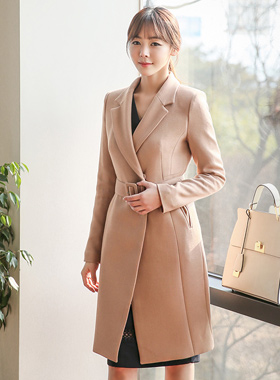 Modern Belted Slim Long Jacket