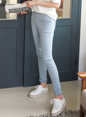Pocket cutting Banding Skinny Pants