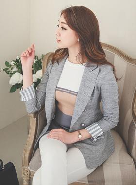 Stripe color combination Linen Jacket