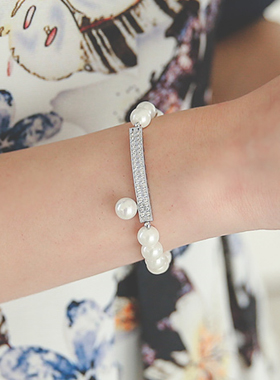 Real pearl bracelet Silver Stick