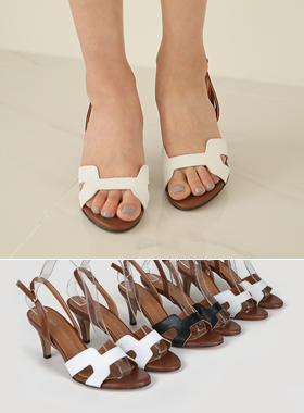 Cowhide H Sling backs heel sandals