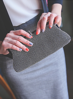 Polka cubic Mini Clutch