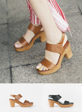 Velcro Cowhide Platform shoes Sandals