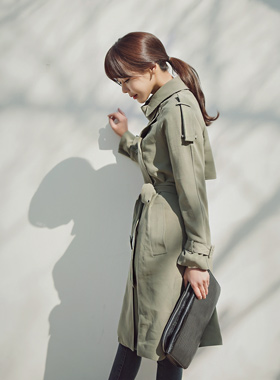 Strap buckle Trench Coat