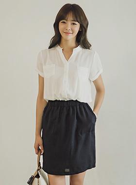 Banding linen dress shirt color