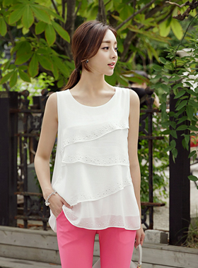 Long cubic Tiered Blouse