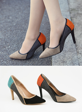 key point color combination of suede heels