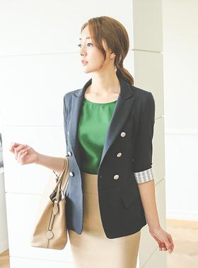 Stripe color combination Linen Jacket (7 sleeved)