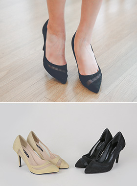 See-through look Suede Heel