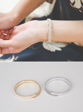 Cubic double pearl bangle