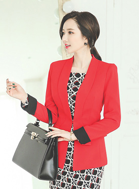 chic color combination Jacket Wave cut