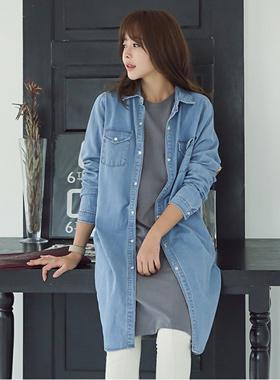 Basic Dress Long Denim Shirt