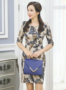 Atelier slit-neck Cotton span Dress