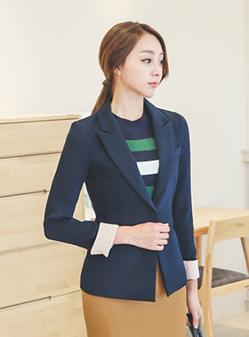 Basic color sleeves single Jacket