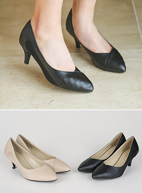 Cutting Suede color combination heel pumps