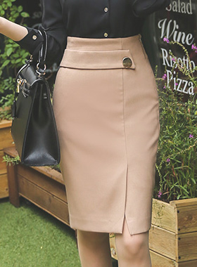 Wrap Skirt slit band buttons gold