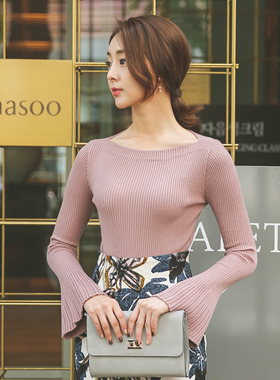 Boat Neck Bell Sleeve Knit