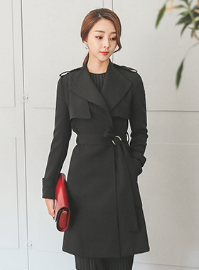 chic Eyelet Belt Trench Coat