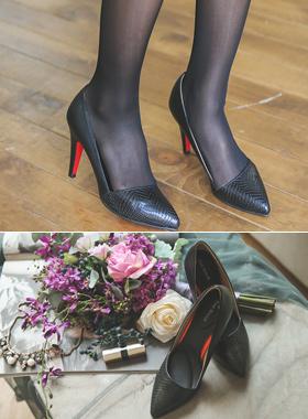 Slim side cushion heel pumps