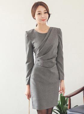 Bokasi diagonal pleats dress Ⅱ