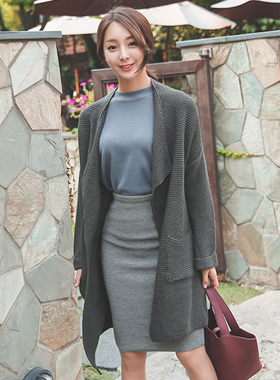 Wide collar double-headed Long cardigan