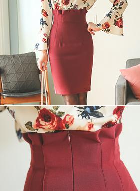 Dart pleated high waist Skirt