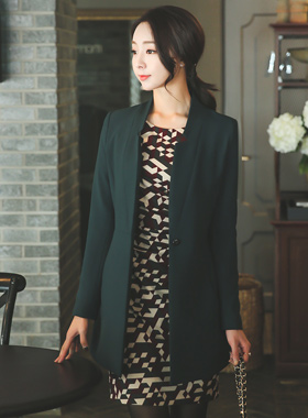 No collar Span slit Long Jacket