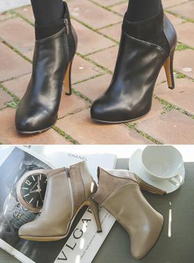 Suede color combination Heel Ankle Booties