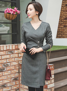Pearl brooch pin pinch Ruched Dress