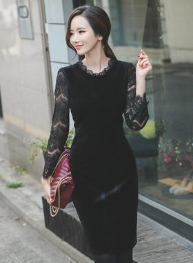 See-through look Race Velvet Dress