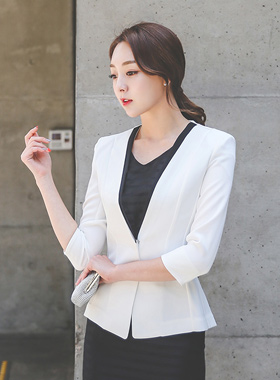 simple color combination No collar 7 section Jackets