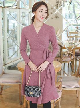 Bokasi Knit Wrap Flare Dress