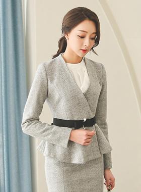 Pearl Pin Belt Flare Wool Jacket