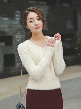 Moist four wings V-neck Knit