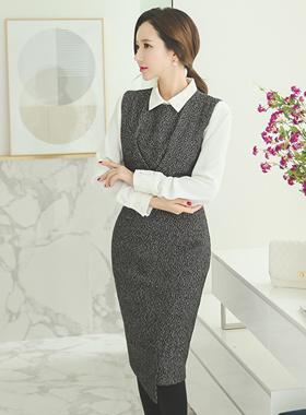 When class wool wrap skirt dress