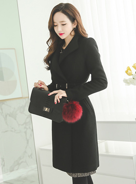 Stick belt wool coat Slim double