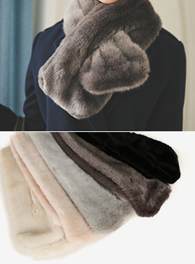 Fake mink fur muffler