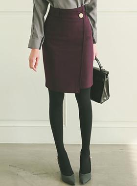 Formal Gold Herringbone Button wrap skirt
