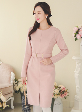 Armand wide belt wool dress