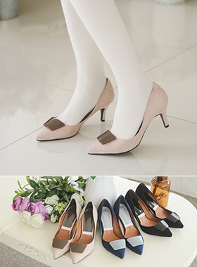 Square Color Block Heel Pumps