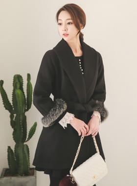 Julia Raccoon Fur Shawl Coat