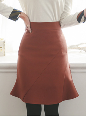 Gathered Skirt Ruffle oblique incision