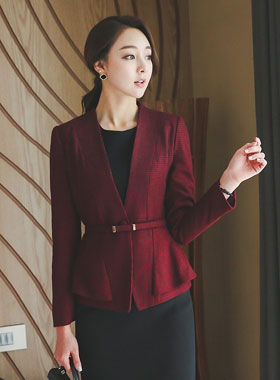 Classic Check Wool Jacket Plum page