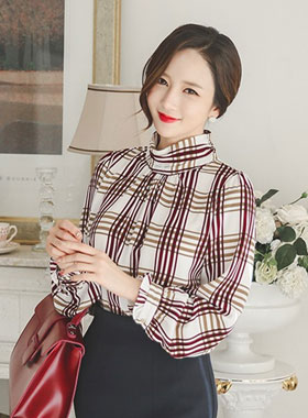 Classic Check Highneck Blouse
