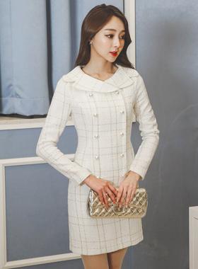 Serra pearl buttons Tweed Dress