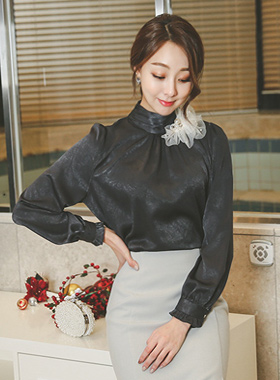 Silky Flower Corsage Blouse